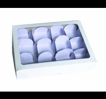 Caixa Branca para trufas com 12 forminhas - Emb. c/ 10 unid. - tampa com visor em PVC