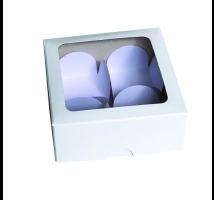 Caixa Branca para trufas com 4 forminhas - Embal. c/ 10 unid. - tampa com visor em PVC