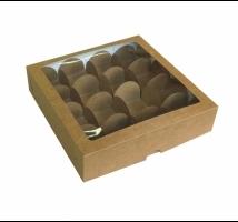 Caixa Kraft para trufas com 16 forminhas - Emb. c/ 10 unid. - tampa com visor em PVC