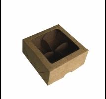 Caixa Kraft para trufas com 4 forminhas - Embal. c/ 10 unid. - tampa com visor em PVC