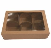 Caixa Kraft para trufas com 6 forminhas - Embal. c/ 10 unid. - tampa com visor em PVC