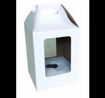 Caixa para ovo de Páscoa 500 grs. Branca -  Emb. c/ 5 unid. - com visor em PVC