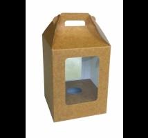 Caixa para ovo de Páscoa 250 grs. kraft . Emb. c/ 5 unid. - com visor em PVC