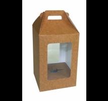 Caixa para ovo de Páscoa 500 grs. kraft - Emb. c/ 5 unid. - com visor em PVC