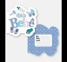 Convites Chá de Bebê com Recorte c/ 5 embal. de 10 convites cada